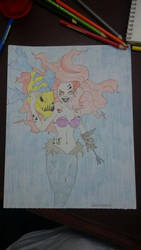 Zombie Ariel with Flounder by Ashpooh18