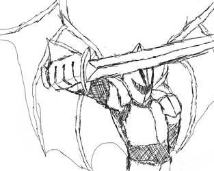 demon warrior sketch by worldglitch