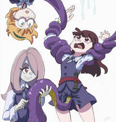 Little Witch Academia Tentacle Lifts Akko by kashikoma