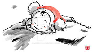 Mei falling asleep on Totoro's furry belly - sumie by SayuriMVRomei