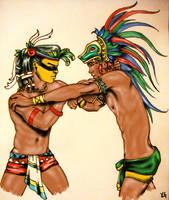 Tezcatlipoca and Quetzalcoatl by FleurDeVive
