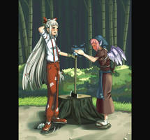 Mokou X Eel Cart Lady by MCLT