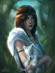 Princess Mononoke: Mother Wolf by raikoart