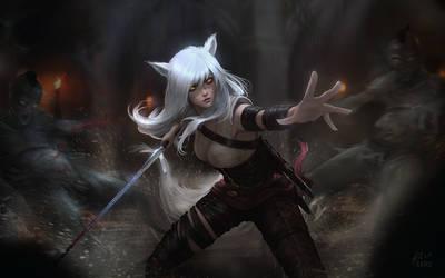 Witcher Ahri by raikoart