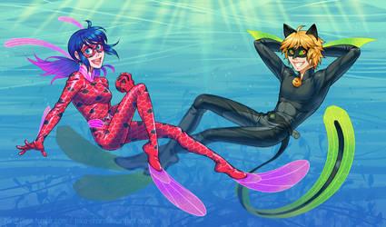 Miraculous Underwater by piku-chan