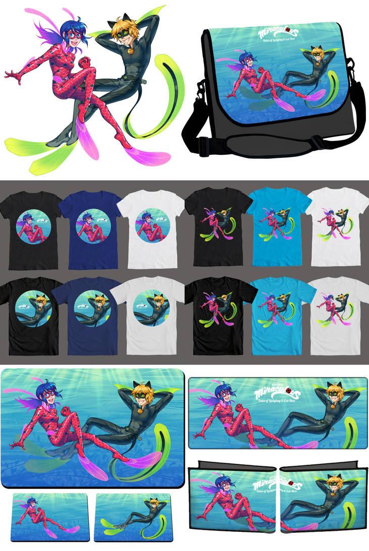 Miraculous Underwater: Fanforge merchandises by piku-chan