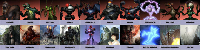 War of The Monsters PS2: Character Similarities by MK1MonsterOck1989