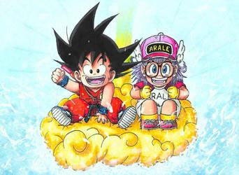 Son Goku and Arale!  - Akira Toriyama Tribute by KCMPssj