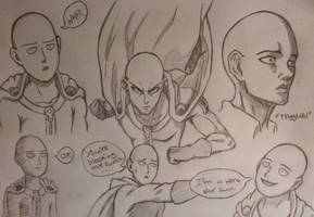 Buncha Saitamas (Sketch) by Max-Manga