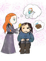 Playing with Hair: Sansa and the Hound by JoyJuhee