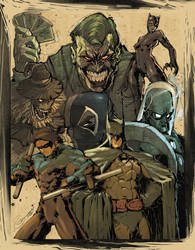 Batman and the villains by scabrouspencil