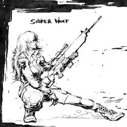 Sniper Wolf lineart by scabrouspencil