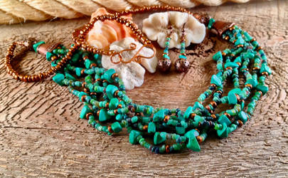 Copper and green turquoise set detail by copper9lives