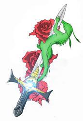 Dragon around a sword by BobWizardVilligr