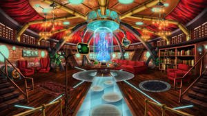 Steampunk TARDIS Interior Console Room by Wonderwig