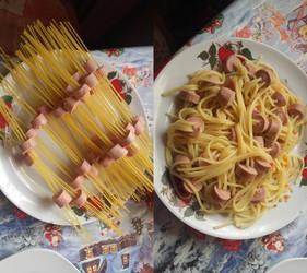 Pasta with sasugages by Ayamenee-chan