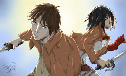 FanArt: Eren and Mikasa by NLeicam