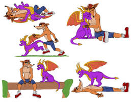 More Crash and spyro by BlueRavenfire