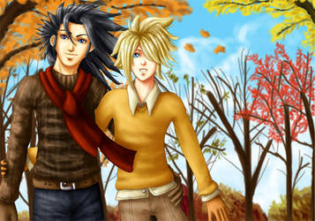 +FF7 Yaoi+ 'Autumn Afternoon' by GawainesAngel
