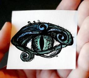 Watercolor and Ink Dragon Eye by KnightNDayArt