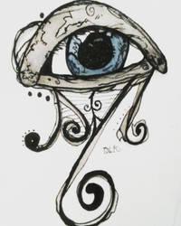Ink and Watercolor Blue Eye by KnightNDayArt