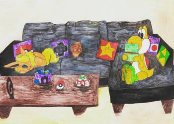 Commission: Flareon and Yellow Yoshi by KnightNDayArt