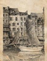 Honfleur port old paper by nicolasjolly