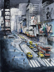 For sale original - Time Square - Watercolor by nicolasjolly