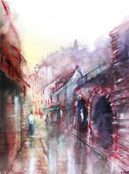 Rocamadour - Watercolor - For sale original by nicolasjolly