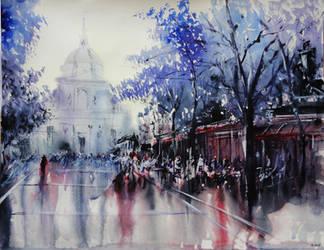 La Sorbonne - Paris - Watercolor Painting by nicolasjolly