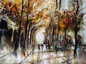 Les Allees De Notre Dame - Watercolor - Paris by nicolasjolly