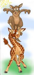 Kangaroo and giraffe by Phoeline