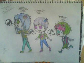 Trickster Jade, Reba, and Layla by zimlvr360