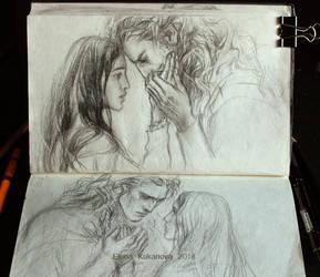 Andreth and Aegnor sketch by EKukanova
