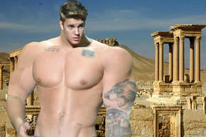 Muscle giant Justin visits ruins after his rampage by bigboysmorphed
