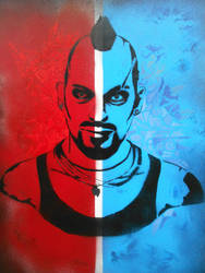 Vaas Montenegro Stencil Painting ( Far Cry 3 ) by Blackitt