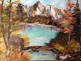 Cabin By The Lake, Bob Ross Inspired by IngridChristina