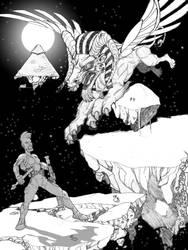 Orc Girl vs. Crisosphinx by Bulun