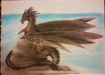 Dragon on a Cliff by Lucifielle
