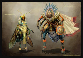 Cleopatra Wasp and Mayan Spider by anacathie