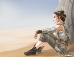 Rey overlooking the sandy dunes of Jakku by BW-Straybullet