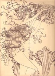 Arthur Rackham mermaids inkpen by PivoineRouge