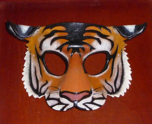 Handmade Leather Mask- Tiger by CTunmasked
