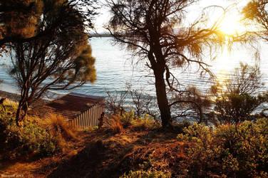 Boatshed at Sunset by Brakawolf