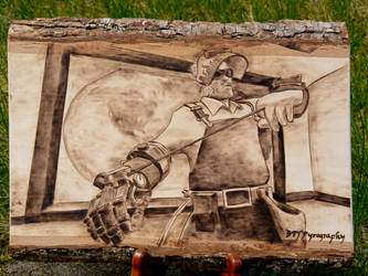Engineer - Team Fortress 2 - Wood burning by brandojones