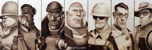 Team Fortress 2 - Class Portraits - Woodburning by brandojones