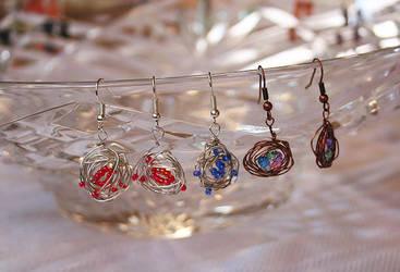 Wire nest earrings by M-Kite