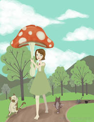 Mushroom-Umbrella Girl by merrycarousel