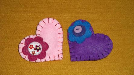 Felt Heart Badges by WinglessRaven