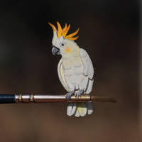 Citron-crested Cockatoo - Paper cut birds by NVillustration